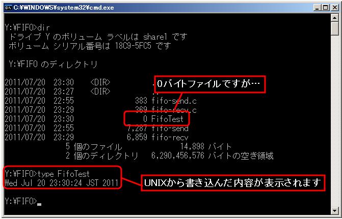 FIFO に書き込まれたデータを Windows から読み取る